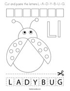 Cut and paste the letters L-A-D-Y-B-U-G Coloring Page
