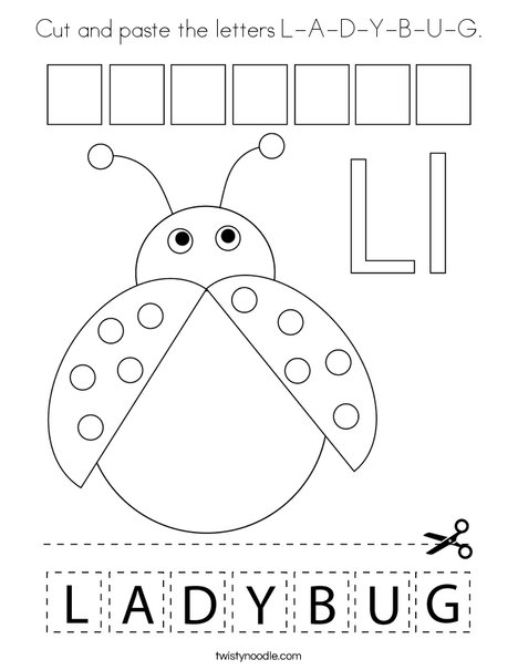 Cut and paste the letters L-A-D-Y-B-U-G. Coloring Page