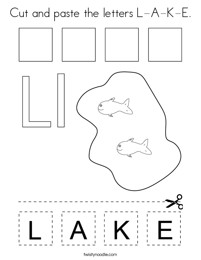 Cut and paste the letters L-A-K-E. Coloring Page