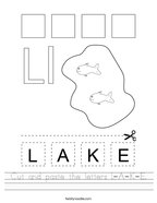 Cut and paste the letters L-A-K-E Handwriting Sheet
