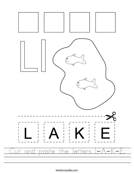 Cut and paste the letters L-A-K-E. Worksheet