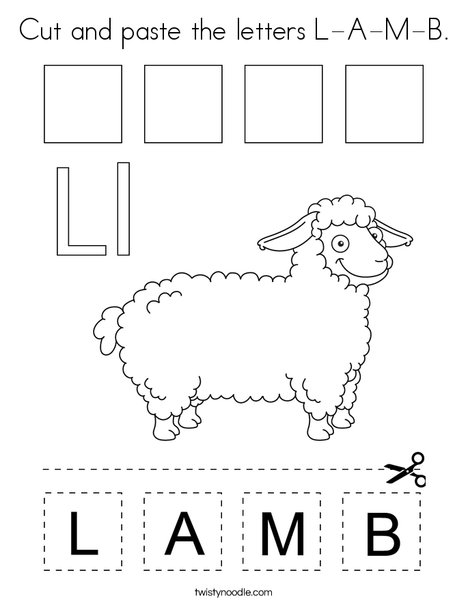 Cut and paste the letters L-A-M-B. Coloring Page