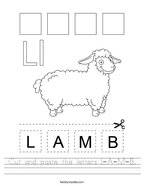 Cut and paste the letters L-A-M-B Handwriting Sheet