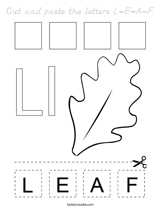 Cut and paste the letters L-E-A-F. Coloring Page