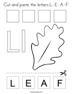 Cut and paste the letters L-E-A-F Coloring Page