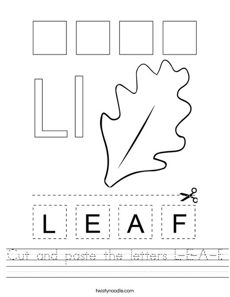 Cut and paste the letters L-E-A-F. Worksheet