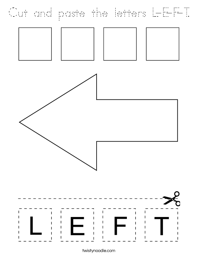 Cut and paste the letters L-E-F-T. Coloring Page