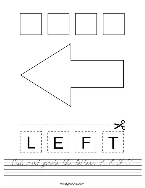 Cut and paste the letters L-E-F-T. Worksheet