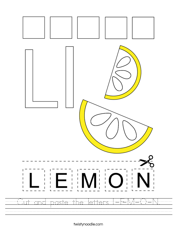 Cut and paste the letters L-E-M-O-N. Worksheet