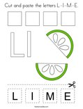 Cut and paste the letters L-I-M-E. Coloring Page