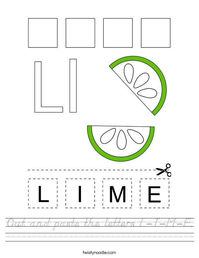 Cut and paste the letters L-I-M-E. Worksheet