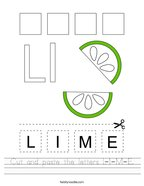 Cut and paste the letters L-I-M-E Handwriting Sheet