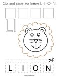 Cut and paste the letters L-I-O-N. Coloring Page