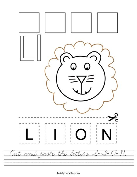 Cut and paste the letters L-I-O-N. Worksheet