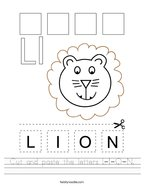 Cut and paste the letters L-I-O-N Handwriting Sheet