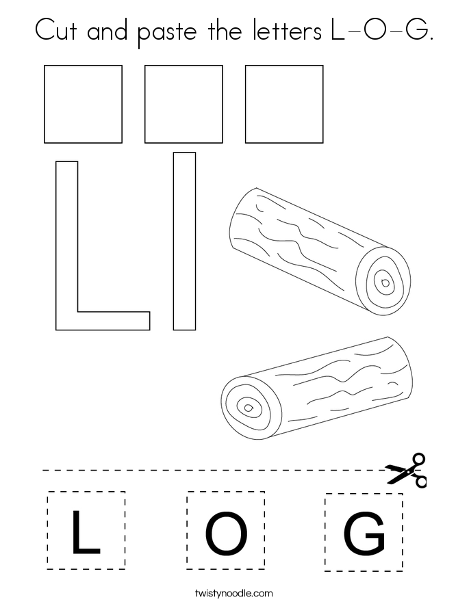 Cut and paste the letters L-O-G. Coloring Page