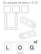 Cut and paste the letters L-O-G Coloring Page
