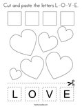 Cut and paste the letters L-O-V-E. Coloring Page