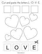 Cut and paste the letters L-O-V-E Coloring Page