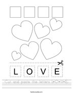 Cut and paste the letters L-O-V-E Handwriting Sheet