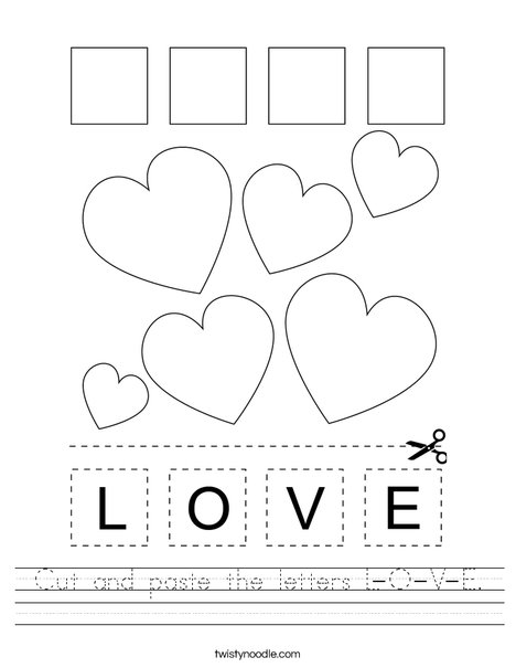 Cut and paste the letters L-O-V-E. Worksheet