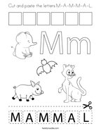 Cut and paste the letters M-A-M-M-A-L Coloring Page