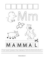 Cut and paste the letters M-A-M-M-A-L Handwriting Sheet