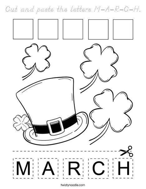 Cut and paste the letters M-A-R-C-H. Coloring Page