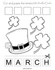 Cut and paste the letters M-A-R-C-H Coloring Page