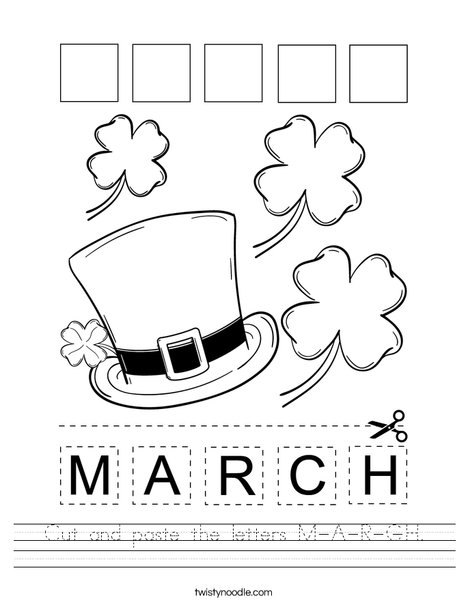 Cut and paste the letters M-A-R-C-H. Worksheet