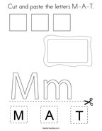 Cut and paste the letters M-A-T Coloring Page