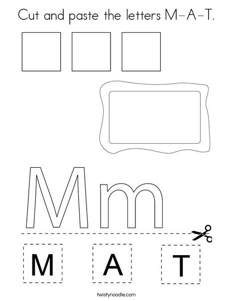 Cut and paste the letters M-A-T. Coloring Page