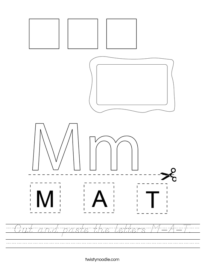 Cut and paste the letters M-A-T. Worksheet
