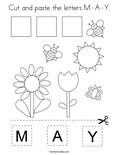 Cut and paste the letters M-A-Y. Coloring Page