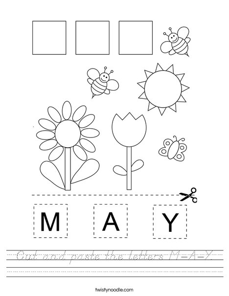 Cut and paste the letters M-A-Y. Worksheet