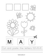 Cut and paste the letters M-A-Y Handwriting Sheet