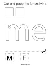 Cut and paste the letters M-E Coloring Page