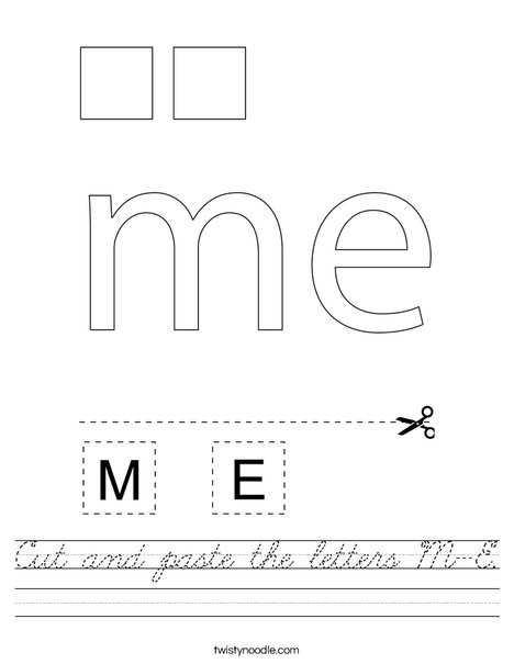 Cut and paste the letters M-E. Worksheet
