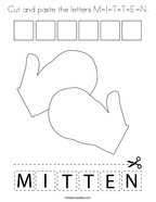 Cut and paste the letters M-I-T-T-E-N Coloring Page