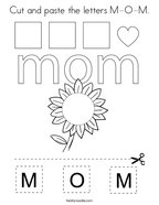 Cut and paste the letters M-O-M Coloring Page