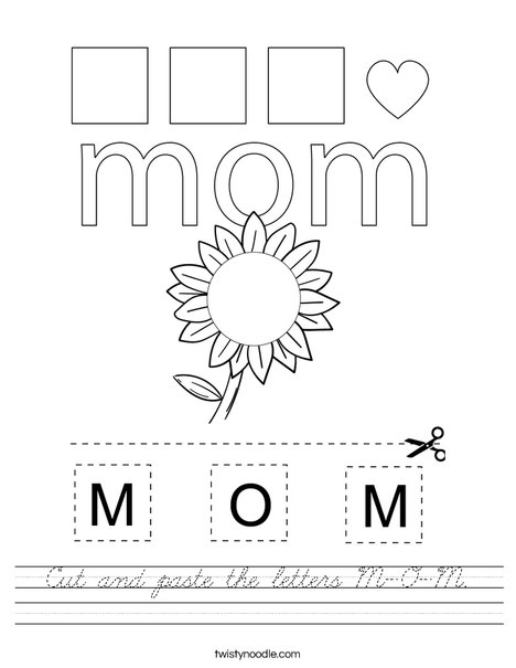 Cut and paste the letters M-O-M. Worksheet