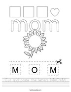 Cut and paste the letters M-O-M Handwriting Sheet