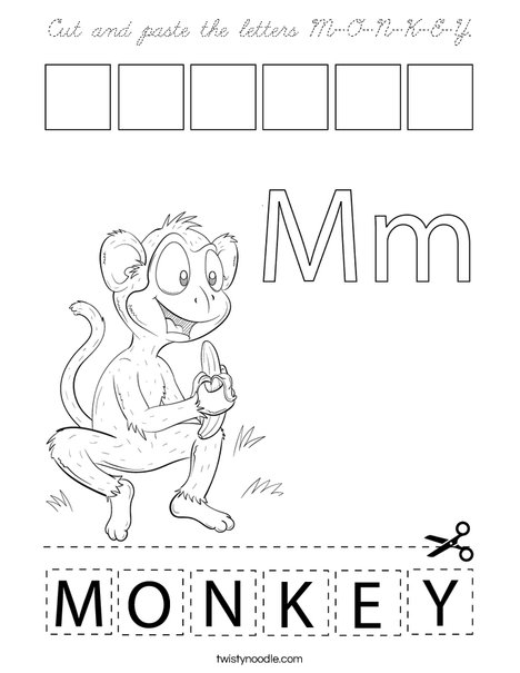 Cut and paste the letters M-O-N-K-E-Y. Coloring Page