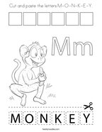 Cut and paste the letters M-O-N-K-E-Y Coloring Page