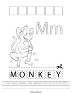 Cut and paste the letters M-O-N-K-E-Y Handwriting Sheet