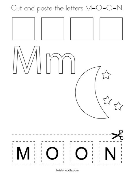 Cut and paste the letters M-O-O-N. Coloring Page