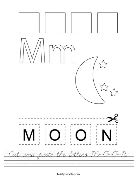 Cut and paste the letters M-O-O-N. Worksheet