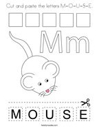 Cut and paste the letters M-O-U-S-E Coloring Page
