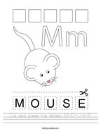 Cut and paste the letters M-O-U-S-E Handwriting Sheet