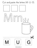 Cut and paste the letters M-U-G Coloring Page